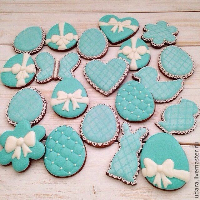 Купить Пасха в стиле Tiffany (набор 20 пряников корзинке) - расписные пряники, имбирное печенье