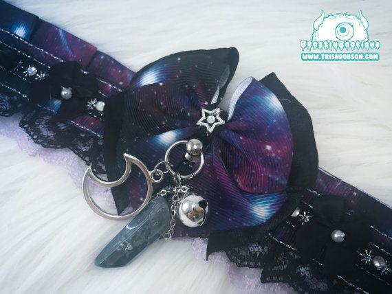 Galaxy and Stars Kitten Play Collar Kitten by TrishDobsonDesigns