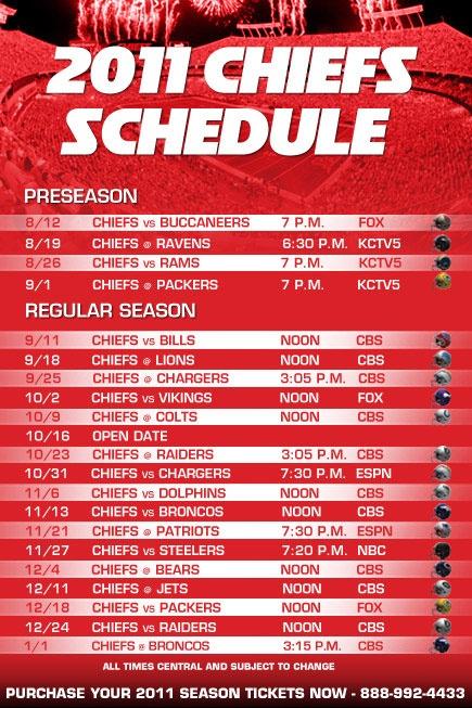 2011 chiefs schedule