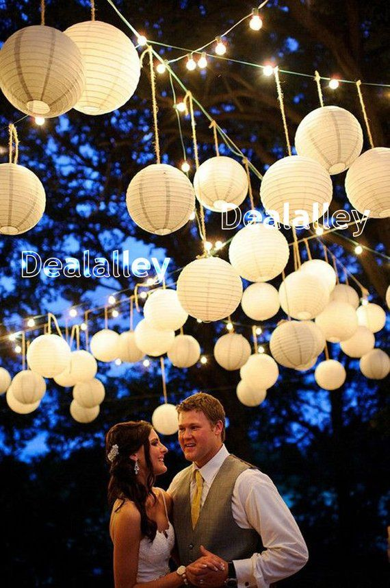 White+Blue Mixed Size Round Paper Lanterns Lamp Shade Wedding Party Events