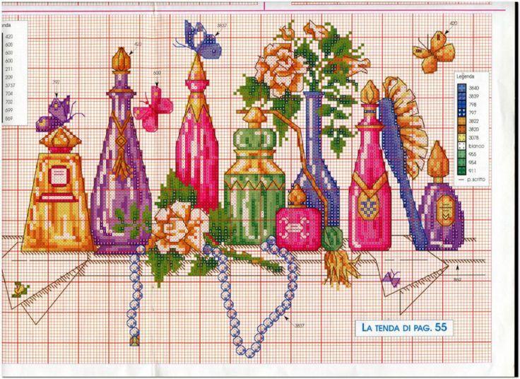 point de croix bouteilles de parfum vintage - cross stitch colourful bottles of perfume