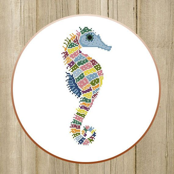 PDF. Colorful seahorse. Cross stitch pattern by SecretFriends