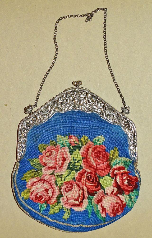 Handtasche - 19.Jahrhundert - aufwendiger Silberbügel und petit point Stickerei