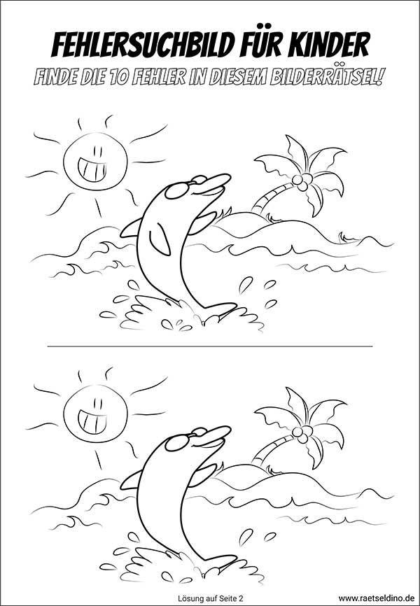 delfin rätsel  fehlersuchbild für kinder zum ausdrucken