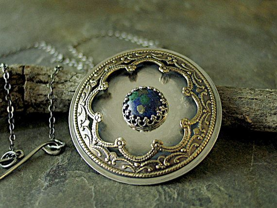 EarthDance - Mandala pendant in sterling silver, brass filigree with azurite malachite center stone   ....from LavenderCottage on Etsy