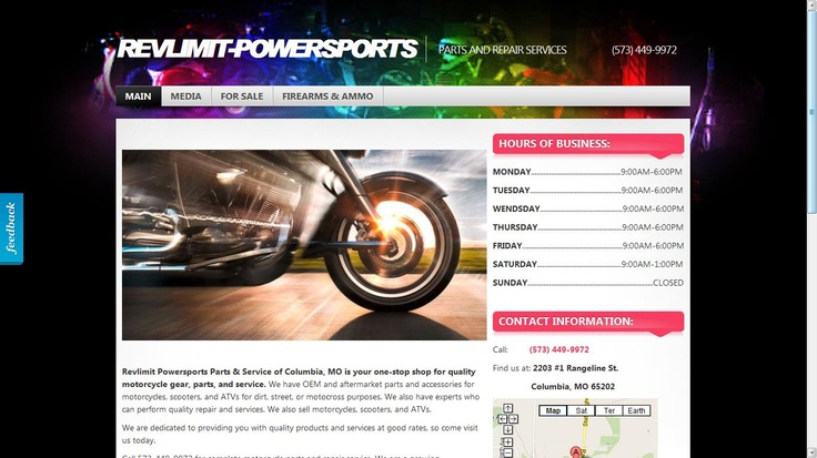 Website designed for a local motorsports service and repair shop. Revlimit Powersports