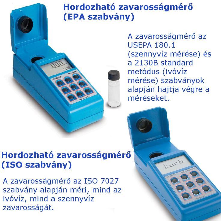 A Hanna HI98703 és a HI98713 egy-egy hordozható zavarosságmérő műszer. A különbség közöttük, hogy a HI98703 az USEPA 180.1 szabvány alapján mér, míg a HI98713 az ISO 7027 szabvány szerint mér.