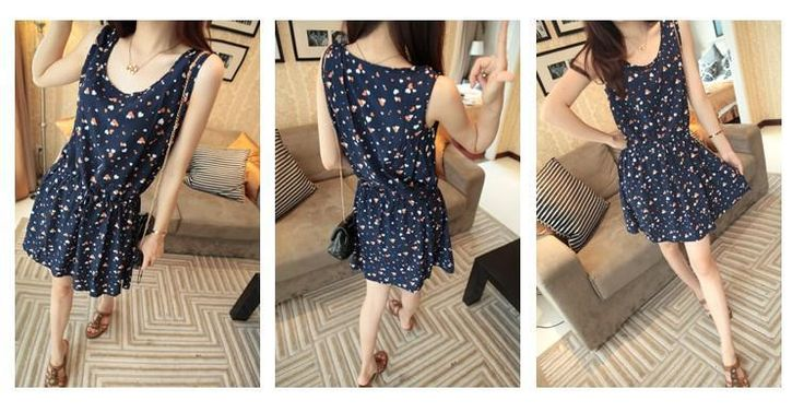 Simple Fashion Women's Slim Floral Waist sleeveless Chiffon Dress Mini $5.99