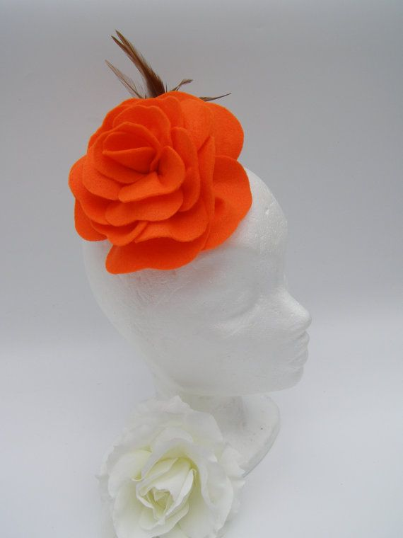 Orange Felt Rose with Brown Feathers on Crocodile by SiogDesign, €12.50