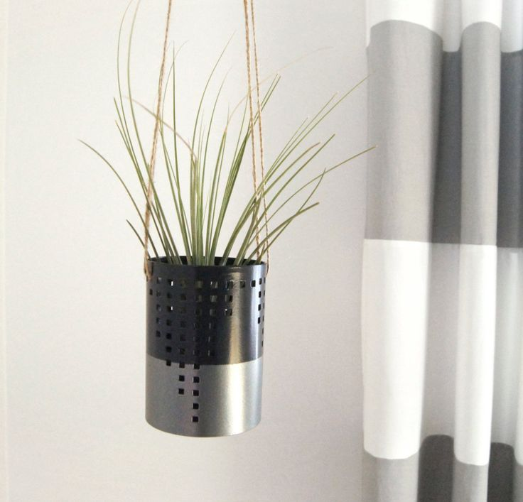 Colorblock Metallic Grey & Black Air Plant Holder perfect for small space by ClassicByNature on Etsy