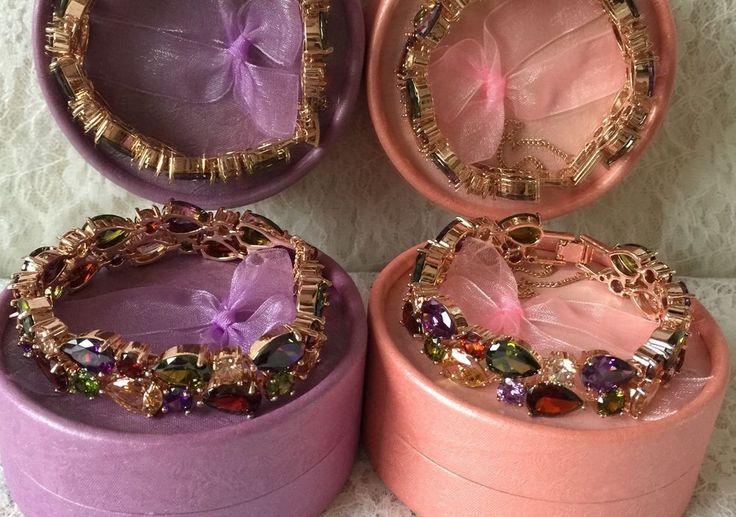 A rose color chain set with multicolour Zircon crystals Bracelet | eBay