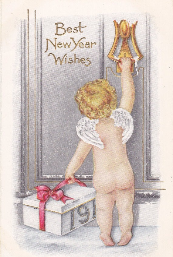 Best New Year Wishes ~ ca. 1910s postcard