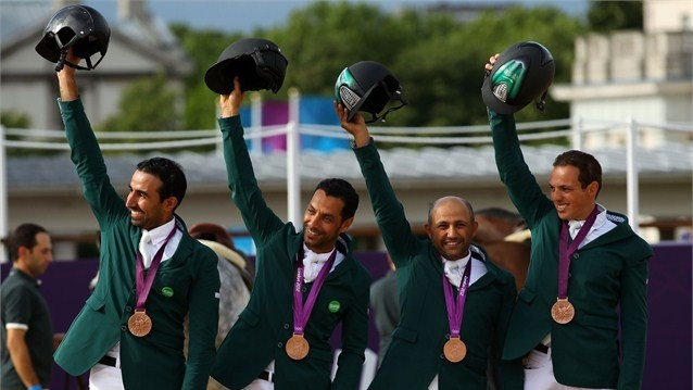 Saudi Arabia celebrate bronze in the Team Jumping