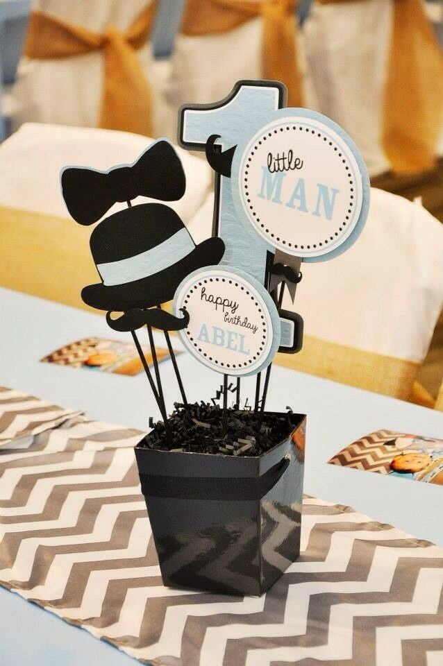 Little Man Mustache 1st Birthday Party Centerpieces