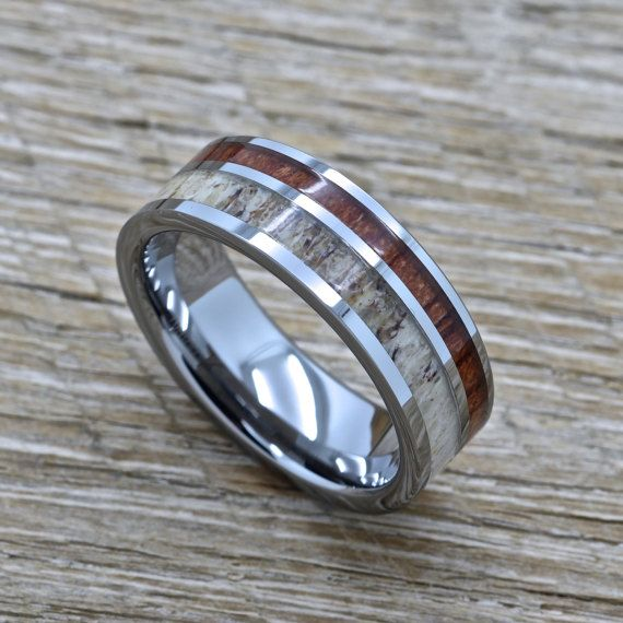Men's Tungsten Ring with Genuine Deer Antler and by RJJewelers