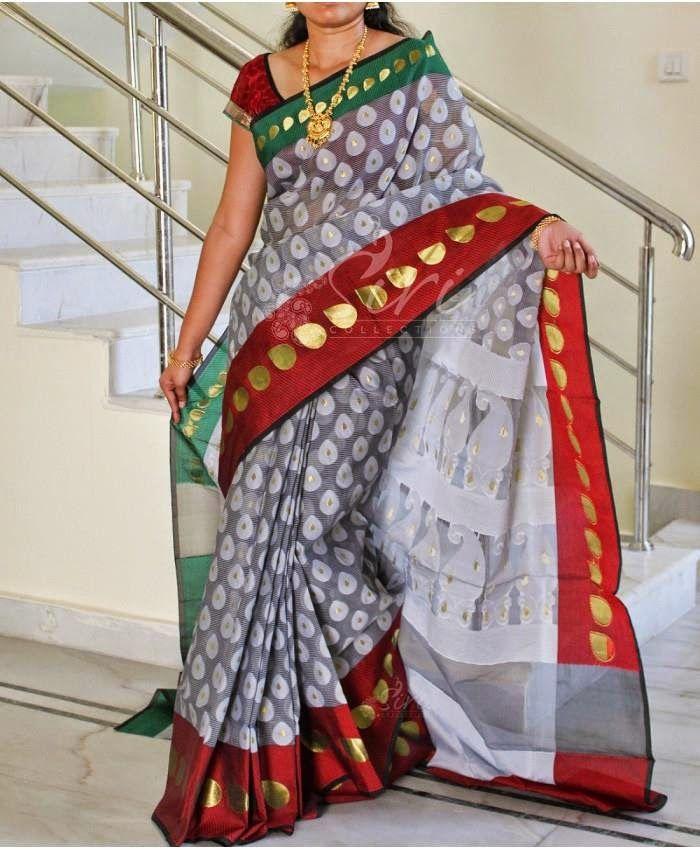 Grey benarasi kora saree   Latest designer saree collection   Elegant Fashion Wear Price:2275 #elegantfashionwear #banara #korasilk #sarees