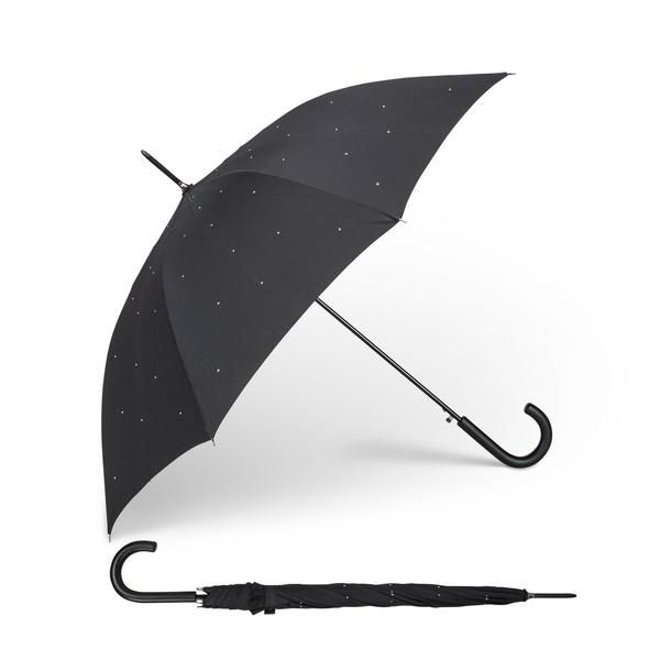 A scattering of crystals adorn this generously sized stick umbrella with automatic opening feature.
