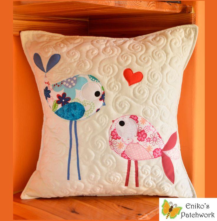 bird love pillow by Eniko's Patchwork