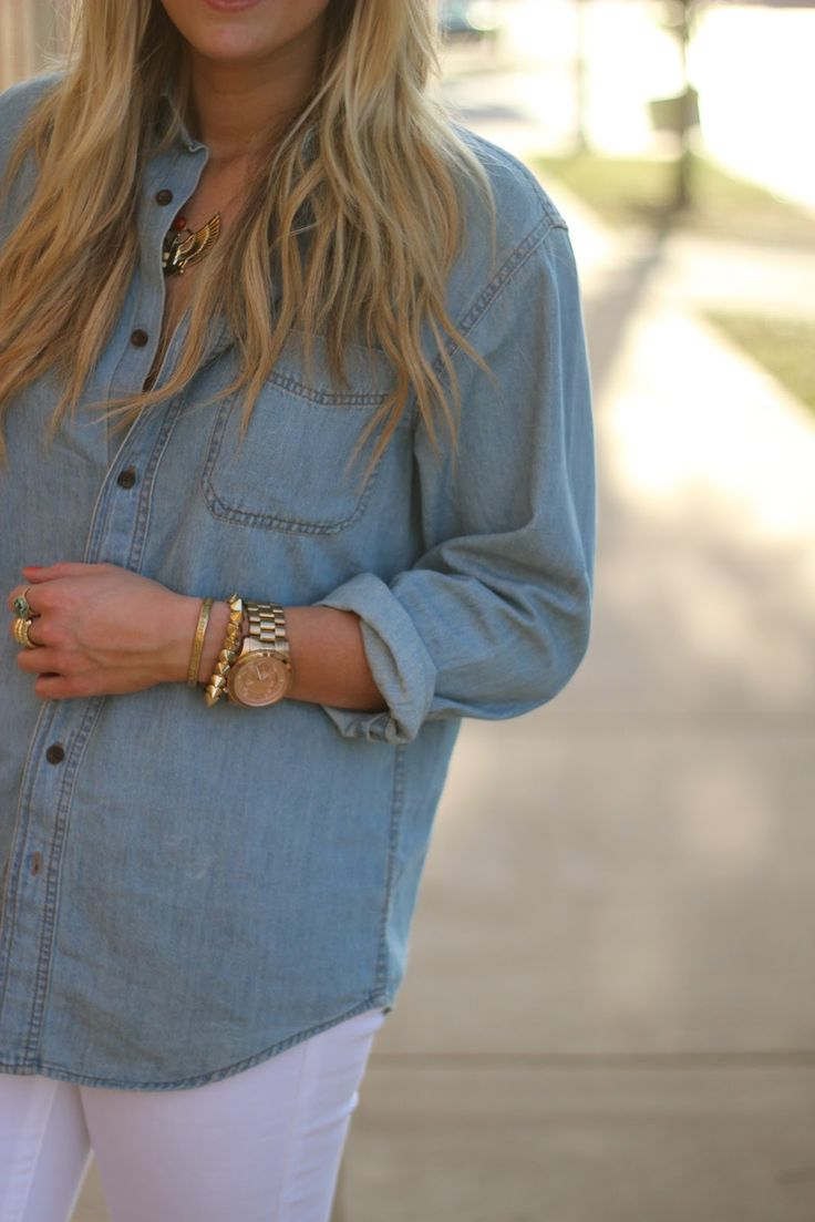 jean and white: Southern Sorority Girls, Southern Charms, Dream Closet, Chambray Shirts, Denim Tops, Denim Shirts, White Jeans, Gold Jewelry, Gold Accessories