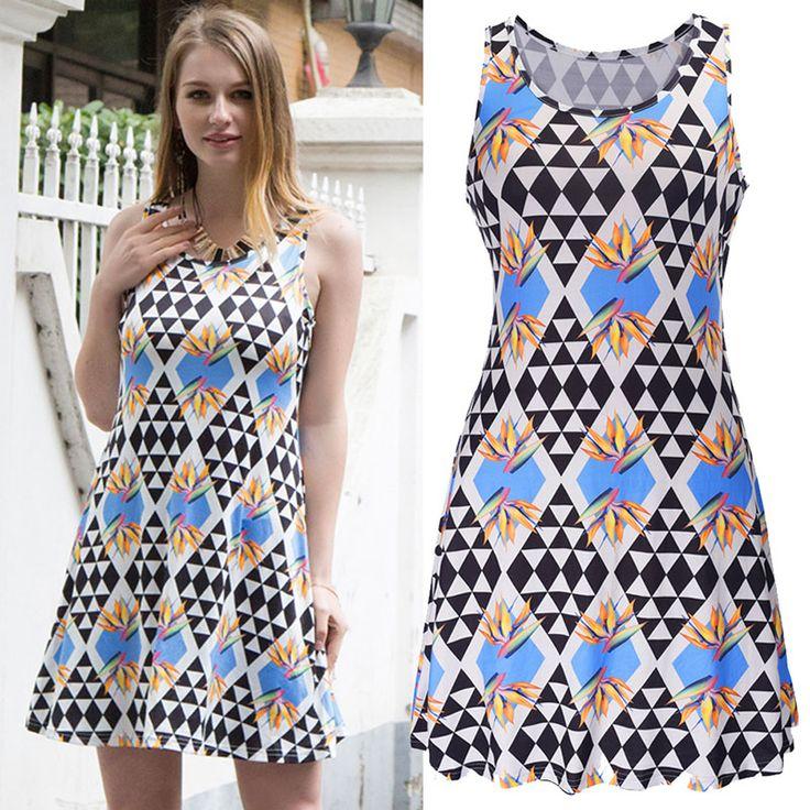 2017 Women A Line Short Dress  Ladies Beach Casual Summer Sundress Women's Split O Neck Dresses Womens Sleeveless Print Vestido #Affiliate