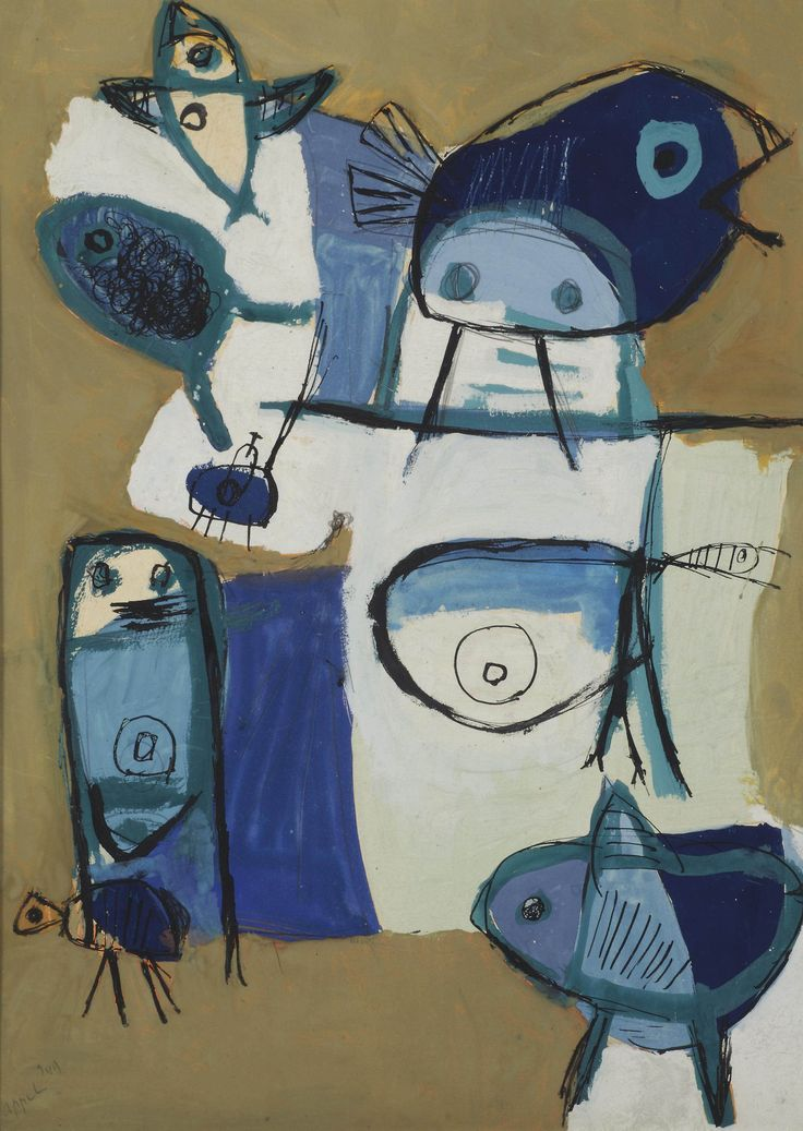 Karel Appel (Netherlands 1921-2006)Figure and birds (1949)gouache on paper 73 x 54cm