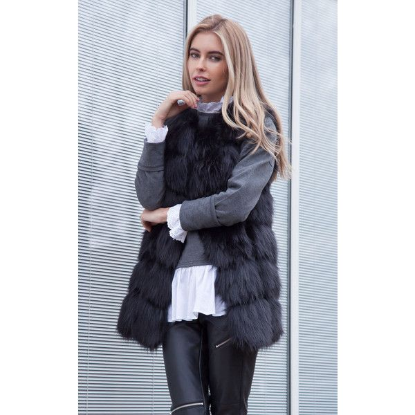 Styled In London Soft Faux Fur Gilet in Black (€85) ❤ liked on Polyvore featuring outerwear, vests, black, faux fur gilets, faux fur vests, faux fur waistcoat, gilet vest and pocket vest