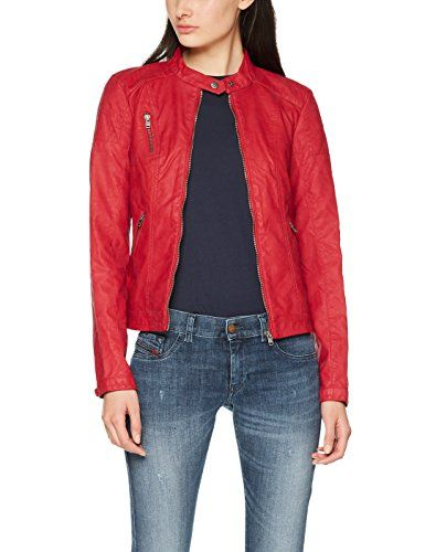 fa1d5108e16b ONLY Damen Jacke Onlsteady Faux Leather Jacket CC OTW, Rot (Jester Red  Jester Red