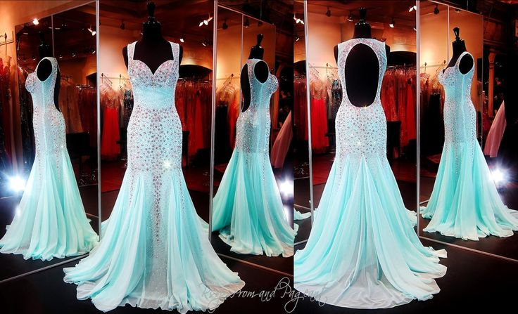 Youthful, playful, sexy... all of the above! This gown is covered with sparkling crystals. Its sweetheart bodice gives way to thick beaded straps that open up to a sexy low open back. The skirt flares out in a fabulous mermaid silhouette! ONLY at Rsvp Prom and Pageant, Atlanta, GA or Buy it NOW at http://rsvppromandpageant.net/collections/long-gowns/products/aqua-beaded-mermaid-sweetheart-neckline-open-back-halter-train-115jc0532700518