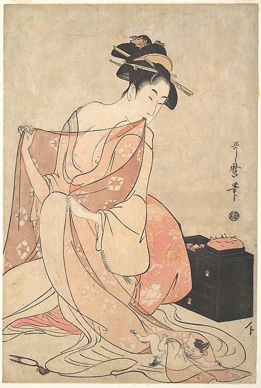 Kitagawa Utamaro (Japanese, 1753–1806). A Woman and a Cat, ca. 1793–94. Edo period (1615–1868), Japan. The Metropolitan Museum of Art, New York.