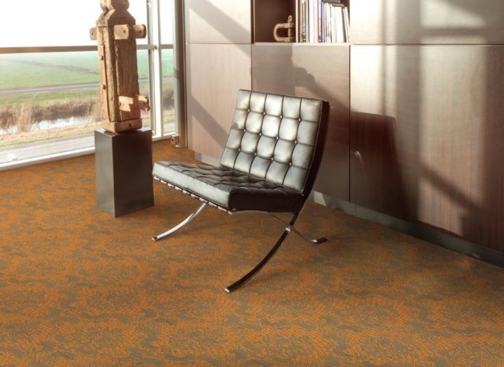 Oranžový vzorovaný tištěný koberec M2 Carpets s vlastním designem. / Custom designed orange printed M2 carpet.  http://www.bocapraha.cz/cs/aktualita/55/m2-carpets-tistene-koberce-s-vlastnim-designem/
