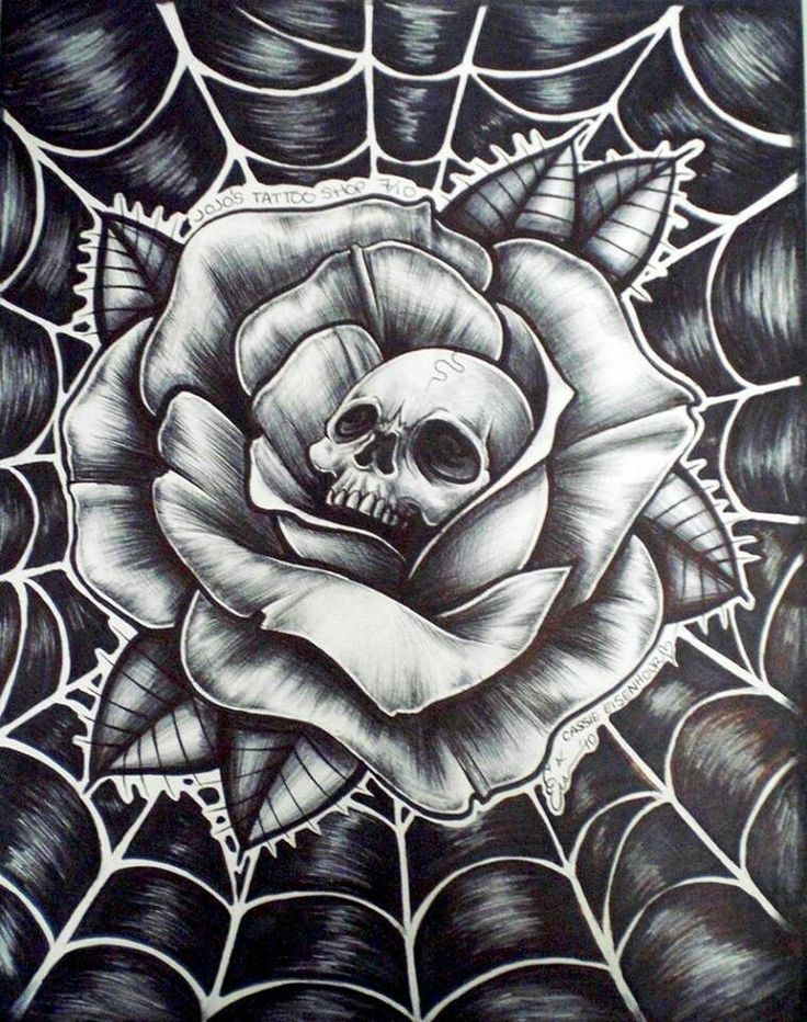 Webbed Skull Wrapped In a Rose