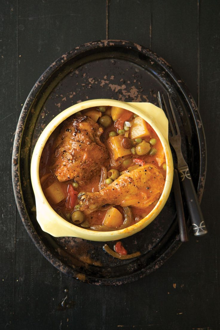 Nitza Villapol, the legendary Cuban cook and author, taught generations of islanders and exiles to make this hearty chicken stew. It draws flavor from alcaparrado, a mix of pimento-stuffed olives and capers, and sweetness from raisins.