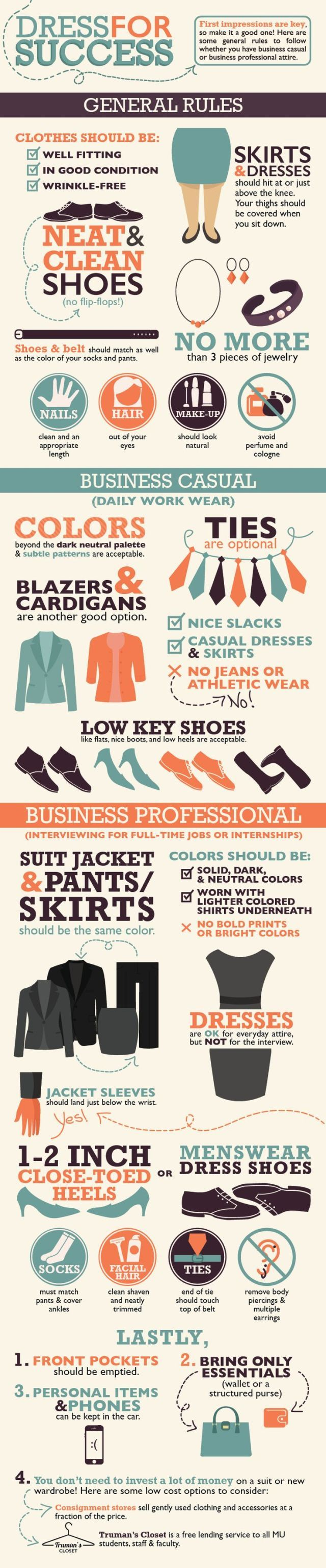 infographic : Dress for Success - this is business casual as first outlined by the various Human Resources of a number of companies. - Bear in mind this is when it was casual Friday's only - it was full costume business as usual M-Th. If you met with clients in person, you were informed that these meetings were to be scheduled for M-Th. Friday you worked the phones, did paperwork, caught up on filing and such. If a Meeting had to be held on Friday, you came in full business dress.