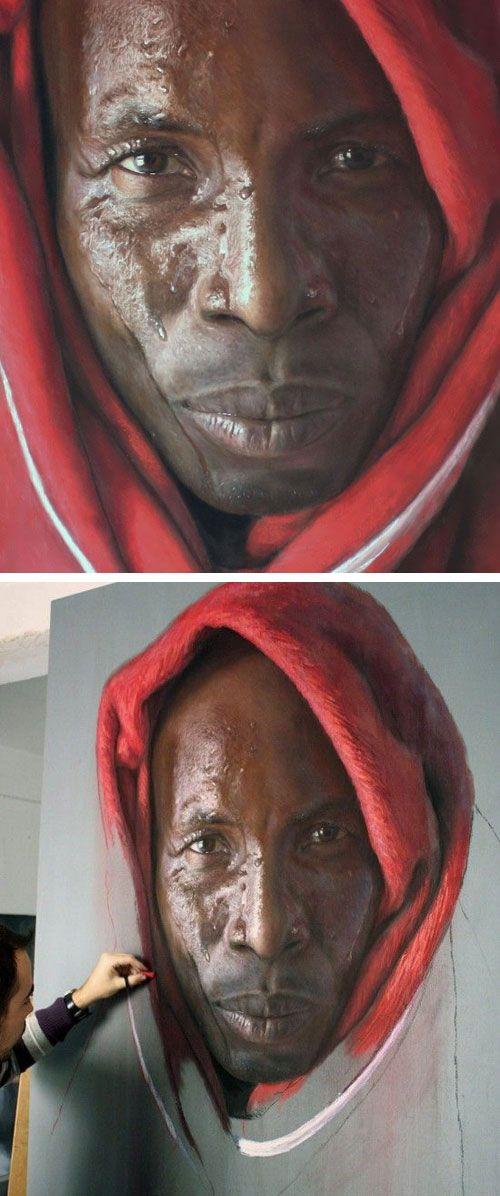 Artist: Rubén Belloso Adorna, realist {black male man head hyperreal face portrait drawing}