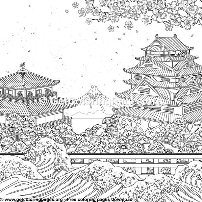 Japanese Art Coloring Sheet Printable Japanese Art Free Printable Japanese Art Coloring Pages