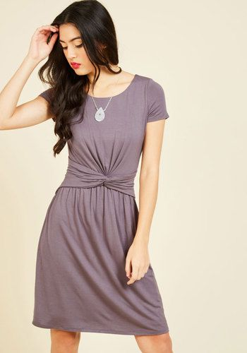 A Whole New Whorl Jersey Dress in Lavender - Purple, Solid, Casual, A-line, Short Sleeves, Fall, Winter, Knit, Better, Exclusives, Private Label, Mid-length