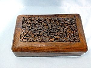 45.00 U.S  Circa: 2000 Condition: very good  Size: 8 inches by 5 inches by 3 inches  Type: Wooden Box Carved Hinged  Country of Origin: Indonesia Manufacturer: Wooden Box Carved Hinged   Wood carved lid featuring birds and floral design. Inside has two compartments.