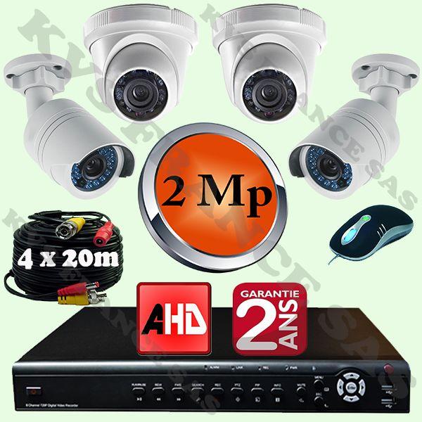 Pack de videosurveillance pro à 4 cameras AHD de 2.0 Mp dont deux Domes et deux Tube qualité d'image cristalline, toutes les 4 caméras sont étanches et Tribrides : Analogique / HDTVI / AHD avec un serveur ip enregistreur Quadribride : Analogique / HDTVI / AHD et IP.