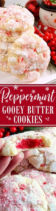 Peppermint Gooey Butter Cookies (from scratch!) ~ Melt-in-your-mouth Peppermint Gooey Butter Cookies at their finest and from scratch. Buttery, light and tender-crumbed, sweetened just right and full of classic peppermint candy cane flavor. You just can't have one! Included is a scrumptious and irresistible gluten free variation. Everyone will love these festive pink and red peppermint sprinkled cookies with a red center…they taste just like Christmas!