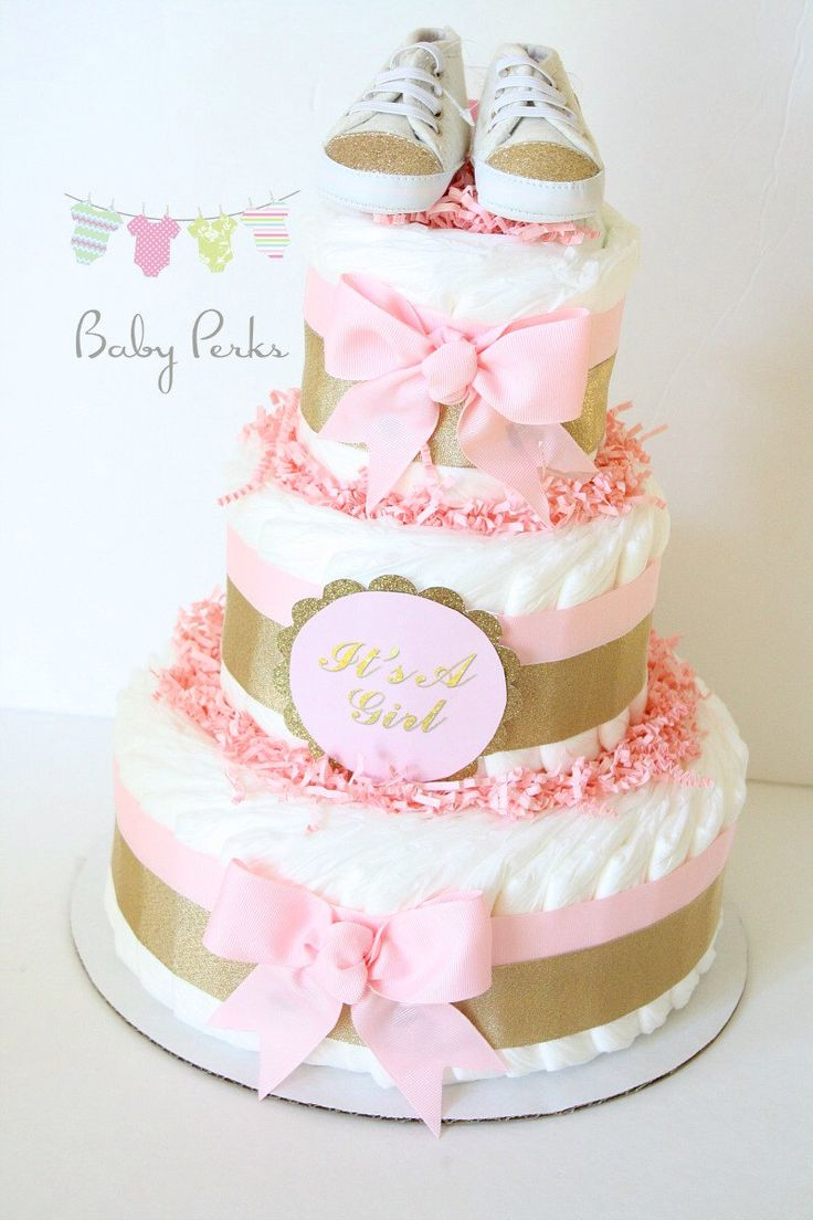 Pink And Gold Baby Shower, Pink And Gold Diaper Cake , Blush Pink , Baby