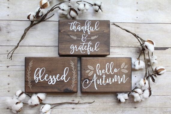 Fall mantle wood blocks Set of 3 blocks by MagnoliaBlushDesigns