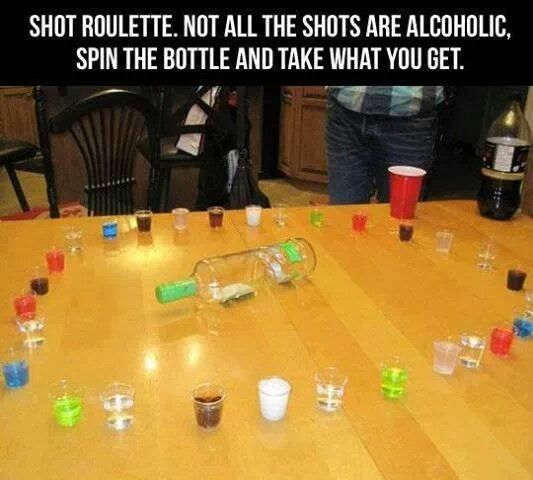 Shot Roulette. Not all the shots are alcoholic and can also be a non-alcoholic game. Spin the bottle and take what you get.