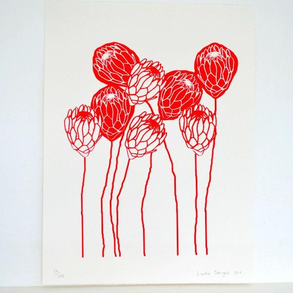 Red Protea print - KAMERS Online Store