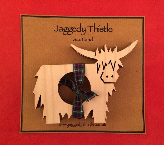 Wooden Napkin Rings  Highland Cow / Coo  Set of 4
