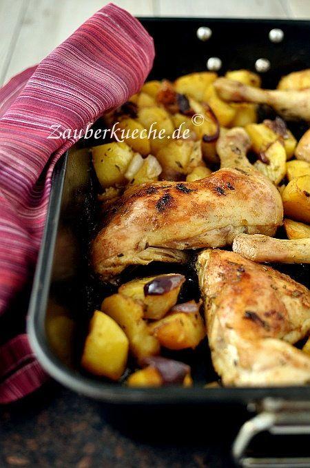 Zutaten für ca. 4 Portionen: 4 Hähnchenschenkel 1kg Kartoffeln 1 rote Zwiebel 80ml Pflanzenöl 5 Knoblauchzehen 1 TL Paprikapulver, süß...