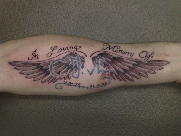Memorial 24 dainty small angel wings tattoos here is a for Small memorial tattoos