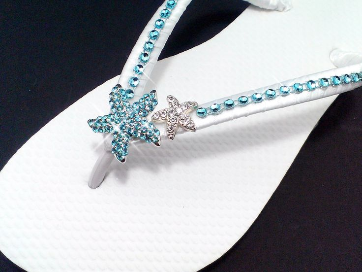 Beach Wedding Flip Flops Teal Aqua Blue Wedding Teal Wedding Sandals Starfish Wedding Flip Flops Bling Flip Flops Bride Bridesmaid Shoes by FlipFlopBay on Etsy https://www.etsy.com/listing/214618446/beach-wedding-flip-flops-teal-aqua-blue