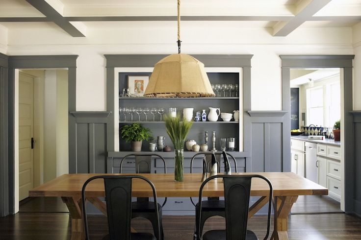 Simo Design: Incredible dining room with coffered ceiling and recessed built-in hutch storage. Dining ...
