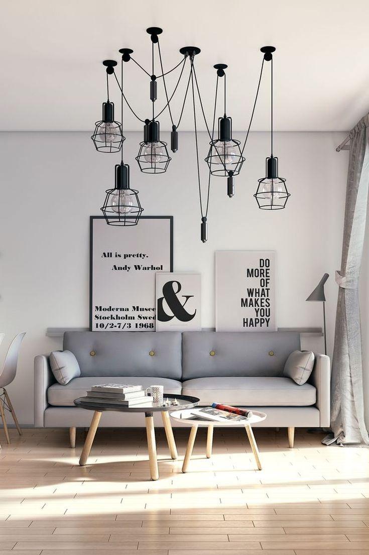 petit salon - idée de décoration avec luminaire design