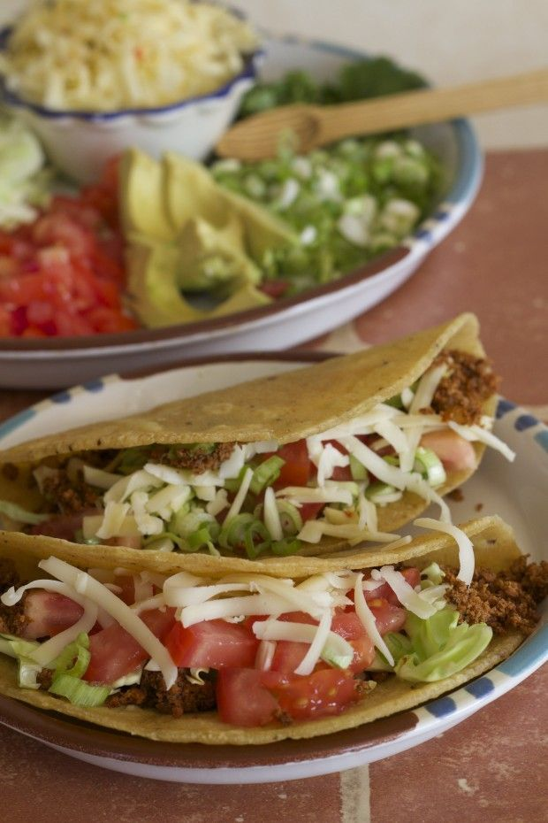 Vegetarian Traditional Tacos with Tofu Hamburger - Letty's Kitchen
